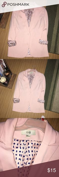 Pink blazer Great condition pink blazer from forever 21 with polka dot inside 😍 Forever 21 Jackets & Coats Blazers