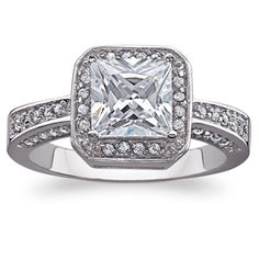 Buy Sterling Sterling HALO CZ Solitaire Engagement Ring at Limoges