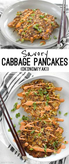 """Savory Cabbage Pancakes are a fun and filling way to use up pantry leftovers. Fill them and top them with whatever your heart desires!"" (sub coconut or almond flour for the white) Vegetarian Recipes, Cooking Recipes, Healthy Recipes, Diabetic Recipes, Clean Eating, Healthy Eating, Asian Recipes, Thai Recipes, Fish Recipes"