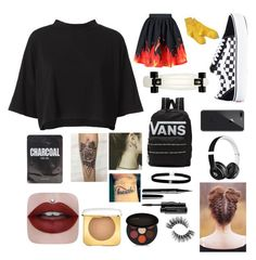 """Untitled #10"" by gucci-emma ❤ liked on Polyvore featuring Vans, RE/DONE, WithChic, Hansel from Basel, Beats by Dr. Dre, MAC Cosmetics and INIKA"