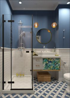 Luxury Bathroom Master Baths Rustic is unquestionably important for your home. Whether you choose the Small Bathroom Decorating Ideas or Dream Master Bathroom Luxury, you will make the best Luxury Bathroom Master Baths Bathtubs for your own life. Small Space Design, Bathroom Design Small, Bathroom Interior Design, Bath Design, Small Bathroom Tiles, Interior Design Ideas For Small Spaces, Bathroom Layout, Colorful Bathroom, Small Bathroom Colors