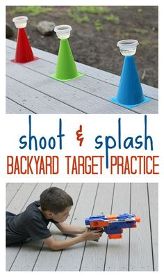 Splash - Outside Activity For Kids AW-esome! Set up a shoot and splash target practice in the backyard. Perfect summer activity for kids! Set up a shoot and splash target practice in the backyard. Perfect summer activity for kids! Outside Activities For Kids, Water Games For Kids, Summer Activities For Kids, Cheap Outdoor Kids Activities, Summer Fun For Kids, Nerf Party, Party Games, Backyard For Kids, Outdoor Fun For Kids