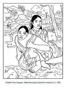 Painter Gauguin 2 - Art coloring pages Colouring Pages, Adult Coloring Pages, Coloring Books, Documents D'art, Art Handouts, Paul Gauguin, Artists For Kids, Elements Of Art, Coloring For Kids