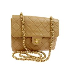 """Chanel small dark beige square crossbody bag  measures 8 x 5.5 x 2.5 """"  long 21"""" strap drop  asking $1480  comment for more information or to purchase this bag"""