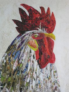 Rooster Head Collage by SusanLydenArtWorks on Etsy, $225.00