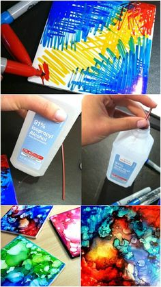 DIY - Sharpie Coasters, ceramic tiles (free or very inexpensive at any home store center), rubbing alcohol added with a straw or eyedropper, (for the colors to mix) -- Great inexpensive gifts! PLEASE, if you are doing this project, see the site for full instructions. We found that by adding more alcohol will blend the colors & your 'coaster' keeps morphing - did this until we were very pleased with the results...