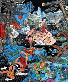Chinese artist Jacky Tsai takes western comic book heroes and thrusts them into traditional Chinese paintings, to reflect the clashing and melding of the two cultures Pop Art, Chinese Prints, Doomsday Clock, Adventures Of Superman, Western Comics, Monkey King, Marvel, Art Moderne, Cultura Pop
