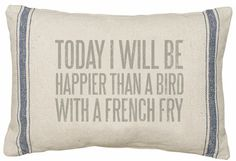Bird With A French Fry Linen Pillow