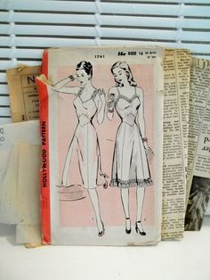 93586c994769f 1940s Vintage Lingerie Slip Hollywood Patterns by PatternJones