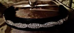 Rhinestone dark brown padded leather 16 inch browband. FREE shipping in the USA!