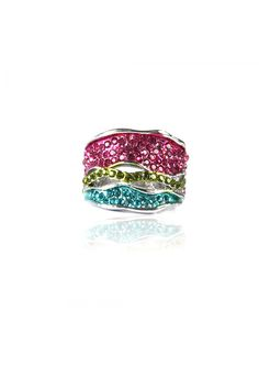 Multi Colored Crystal Cocktail Ring -    Flat textured body, multi colored crystal encrusted body, perfect for a cocktail event,  Nickel finishing. - Rs. 599.00