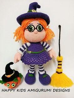 CUTE LITTLE WITCH -Amigurumi Crochet Pattern door HappyKidsAmigurumi op Etsy https://www.etsy.com/nl/listing/252066613/cute-little-witch-amigurumi-crochet