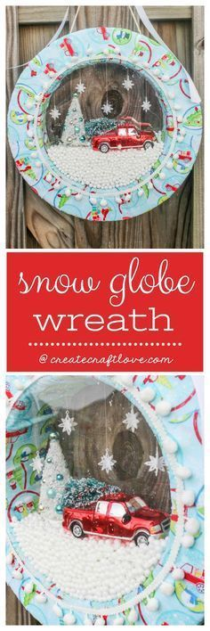 Learn how to make your own Snow Globe Wreath! #christmasdecor #christmascrafts