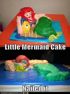 21 Horrifying And Terrifying Disney Cake Fails Little Mermaid Cakes, The Little Mermaid, Funny Images, Funny Pictures, Animal Pictures, Baking Fails, Fail Nails, Funny Cake, Disney Cakes