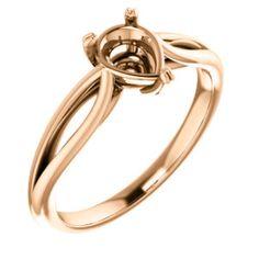 14kt Rose 7x5mm Pear Ring Mounting | Stuller