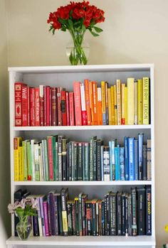 Tips and tricks for arranging bookshelfs ROYGBIV (rainbow) style, and the surprising things I learned when I made over my bookshelves to organize my books by color.