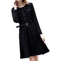 Partiss Damen Frauen U-Ausschnitt OL Business Knoepfe Einreihig Langarm Kleid Sommerkleid, Tag L,Black Partiss http://www.amazon.de/dp/B01BW9SKJK/ref=cm_sw_r_pi_dp_iY73wb07N9A23