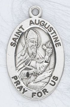 "Sterling Silver Oval Medal Necklace Patron Saint St. Augustine with 20"" Stainless Steel Chain in Gift Box HMHRegina,http://www.amazon.com/dp/B003QI1ZD4/ref=cm_sw_r_pi_dp_46OJsb0AS85P3BFB"