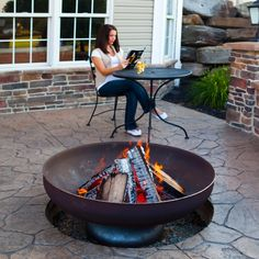 Ohio Flame Patriot Fire Pit with Natural Steel Finish Fire Pit Wall, Fire Pit Ring, Metal Fire Pit, Wood Burning Fire Pit, Fire Pit Area, Cast Iron Fire Pit, Garden Fire Pit, Fire Pit Backyard, Portable Fire Pits