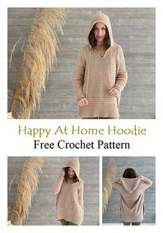 Happy At Home Hoodie Free Crochet Pattern – Knitting Projects Crochet Pullover Pattern, Crochet Hoodie, Hoodie Pattern, Crochet Patterns, Baby Patterns, Crochet Ideas, Knitting Patterns, Crochet Toddler, Crochet Baby