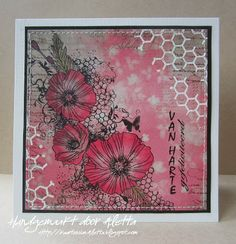 Indigoblu stamp Honeycom background and Blazing Poppies