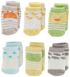 Carter's Unisex-Baby Newborn F13 Neutral 6 Pack Terry Character Face Booties, Light Blue/Grey/Yellow/Green, 0-3 Months