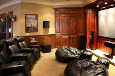 Bean bag chairs are awesome. Bean bag chairs in a home theater is even better