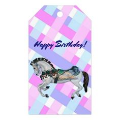 Pretty White Carousel Horse Gift Tags - birthday diy gift present custom ideas