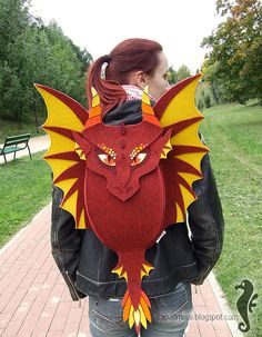 Backpack DRAGON  funny cute red dragon  felt  wings  by CapallMara, zł300.00