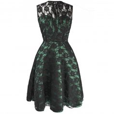 Gothic Green Dress with Black Lace overlay