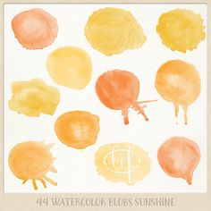 Watercolor clipart circles (44 pc) orange yellow saffron tangerine. hand painted for logo design, blogs making cards printables wall art etc by ByLef