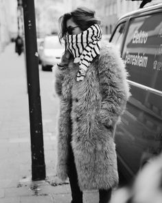 Faux Fur and striped scarf