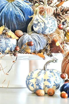 Create one spectacular fall arrangement this year and use velvet pumpkins and a bit of chinoiserie! Fall does not always mean using orange! Thanksgiving Decorations, Seasonal Decor, Halloween Decorations, Christmas Decorations, Holiday Decor, Thanksgiving Table, Velvet Pumpkins, Fall Pumpkins, Fabric Pumpkins