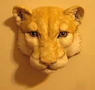 This display mask was made the same way as the hippo mask. This links to the recipe for the instant paper mache recipe that I used. paper-mache-art-by-jonni-good Paper Mache Paste, Paper Mache Clay, Paper Mache Sculpture, Paper Mache Crafts, Sculpture Art, Animal Masks, Animal Heads, Lion Origami, Kirigami