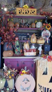 C & C Furnishings: FALL HAS ARRIVED! Primitive Fall, Primitive Crafts, Harvest Decorations, Halloween Decorations, Fall Store Displays, Retail Displays, Halloween Pumpkins, Fall Halloween, Craft Booth Displays