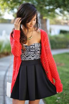 Such a cute outfit! Cardi, Top, Skirt and Bag are from Charlotte Russe.