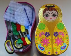 Christmas Gift - Children's Sewing Kit -Babushka Russian Doll Box with children's sewing kit inside - great present to get kids sewing