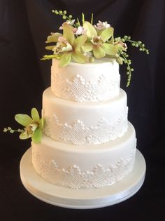 Wedding Cake with Orchids and Lace. www.designer-cakes.co.uk