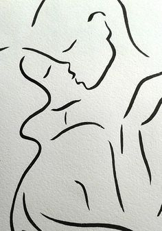 A3  11.7 x 16.5 kissing couple sketch. Black and white line
