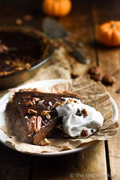 Chocolate Vegan Pumpkin Pie | This pumpkin pie is made with silken tofu instead of eggs for a silky and delicious Thanksgiving dessert. | theendlessmeal.com #sponsored #soyinspired