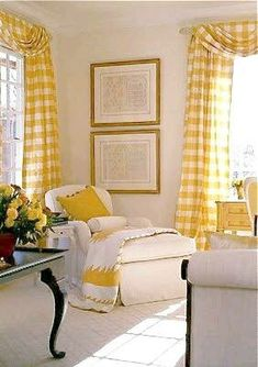 These yellow gingham curtains add instant sunshine to any room! Home And Living, Decor, Home, Interior, Yellow Cottage, Family Room, Gingham Curtains, Home Decor, Room