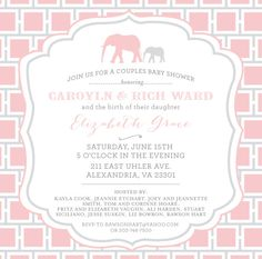 Baby Shower Invitation- Elephant Themed