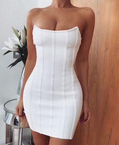 Carmin Rocker Chick Striped Short Dress Black White Stretchy Clubbing Dress