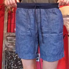 "Bermuda Shorts *NWOT* NEVER WORN *~* A denim blue wash look, these chambray shorts are all cotton and come from Talbots.  Size 4.  These shorts remind me of a more Bermuda style because they reach mid-thigh on me.  Brand new!!  Great condition.  100% Cotton.  Machine Wash Cold.  Tumble Dry Low.  Stretchy waistband with drawstring. Inseam is roughly between 6.5""-7""  Original price: ~$60 Talbots Shorts Bermudas"