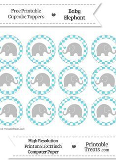 Free Pastel Teal  Checker Pattern Baby Elephant Cupcake Toppers