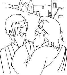 Jesus Heals a Blind Man coloring page for Sunday School