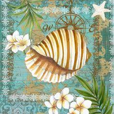 Shells and Plumeria IV (Elena Vladykina) Decoupage Vintage, Decoupage Paper, Coastal Art, Coastal Style, Beach Print, Beach Crafts, Arte Floral, Nautical Theme, Beach Themes