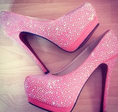Beautiful pink heels with crystals...Very dazzling