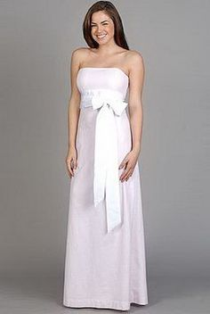 bridesmaid dress. pink w/ a brown bow?