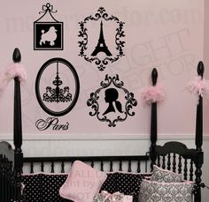paris themed bedrooms | PARIS THEME Vinyl Wall Decals Eiffel Tower, Poodle, Silhouette ...